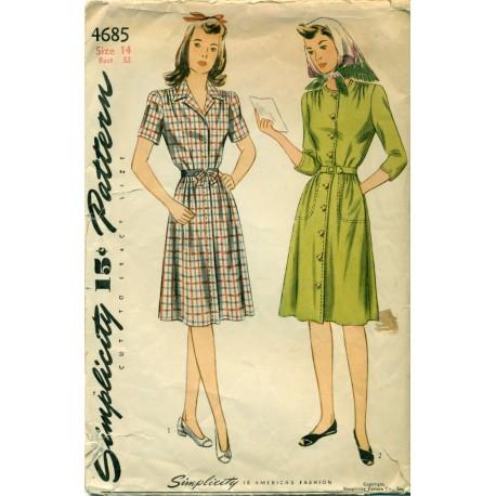 Womens Dress Pattern 4685 40s