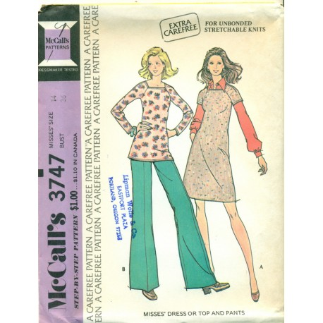 Dress Top Pants Pattern 3747