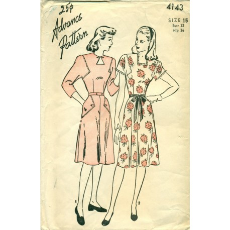 Womens Dress Pattern 1940s 4143