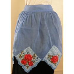 Blue Handkerchief Apron Roses