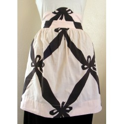 Cotton Apron Pink Black Retro