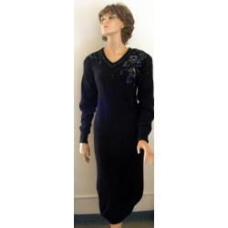 Sweater Dress Black Beaded 80s