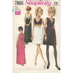 Party Dress Pattern 1960s 7855