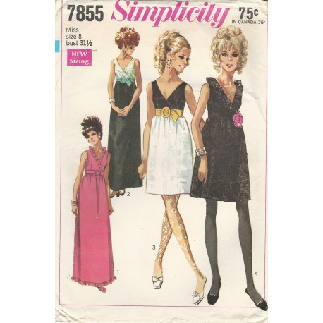 Party Dress Pattern 1960s 7855