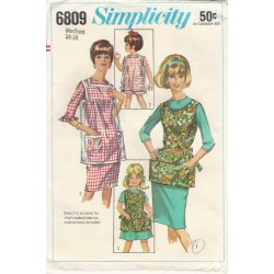 Apron Sewing Pattern 6809 1960s