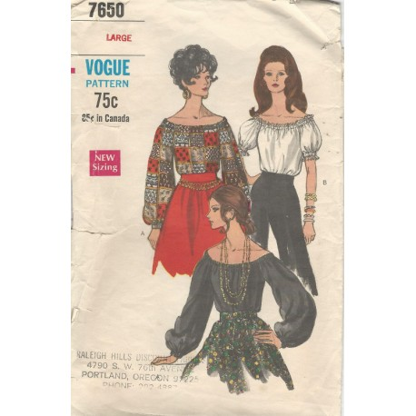 Vogue Peasant Blouse Pat 7650