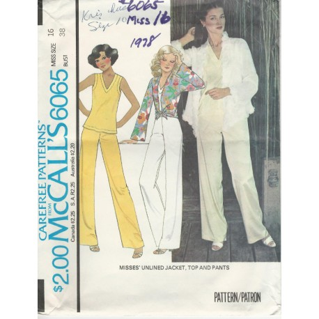 Womens Jacket Top Pants Pat 6065