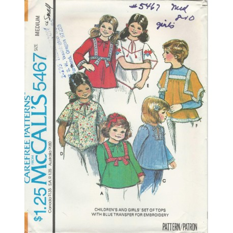 Girls Flowing Shirt Top McCalls 5467