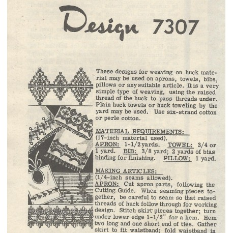 Huck Embroidery Pattern 7307