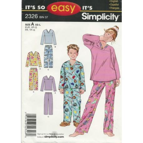 Children Pajamas Pattern 2326