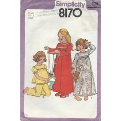 Girls Nightgown Robe Pajamas 8170