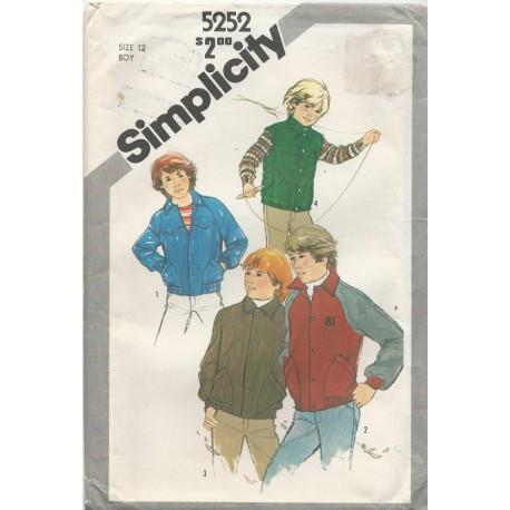 Boy's Jacket Vest Pattern 5252