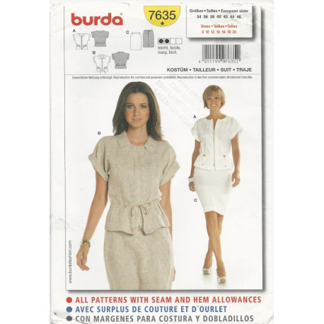 Skirt Top Suit Pattern Burda 7635