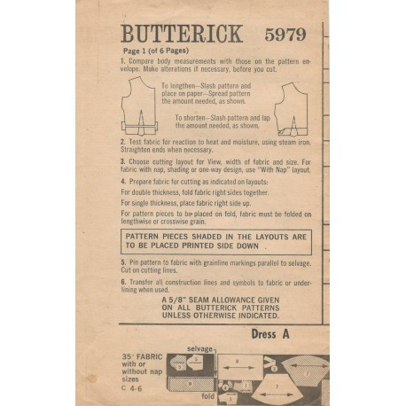 Butterick 5979 Dress Instructions