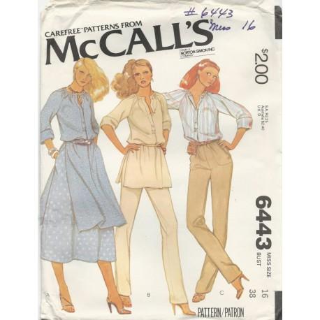 1970's Womens Pants Skirt Top 6443
