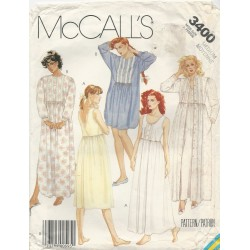 Nightgown Robe Pattern McCall 3400